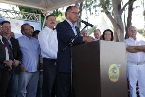 Governador Geraldo Alckmin esteve na última edição da Feira e é presença garantida novamente. (Foto: Giuliano Martins/Arquivo Fetaesp)